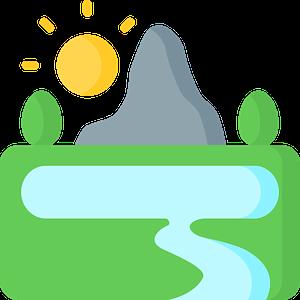 illustration montagne rivière soleil