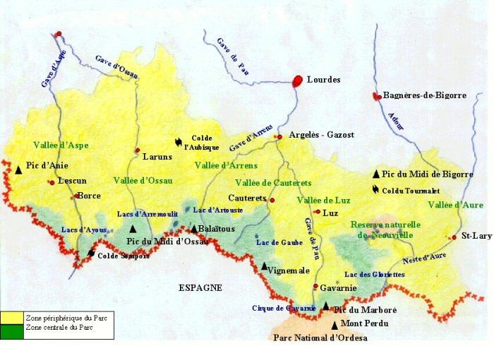 carte parc national des pyrénéees