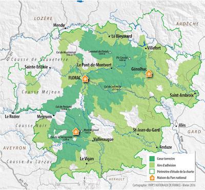Carte Parc National Cévennes